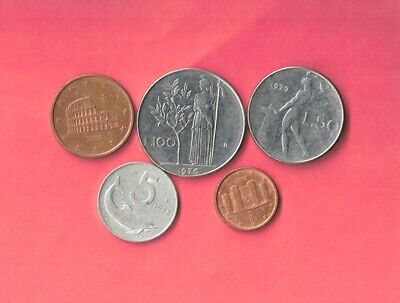 Italy Italian 5 Different 1952-2002  Coin Lot Collection Set  Inc Old - Euro