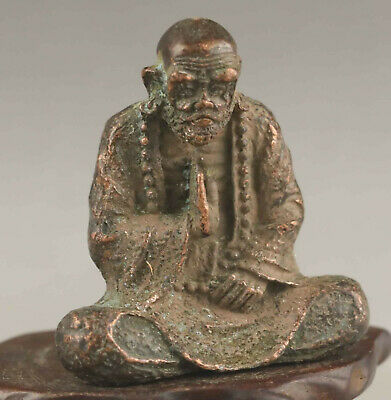 Chinese old bronze hand-carved statue buddha pendant 1.9 inch