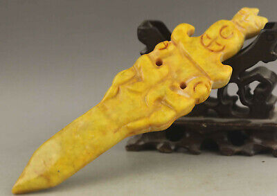 Chinese old natural jade hand-carved statue sword pendant 6.7 inch