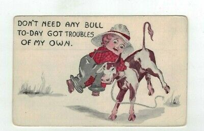 "Antique 1913 Comic Post Card Child Roping a Calf (""Don't need any bull"")"