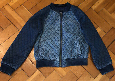 Gap Quilted Denim Bomber Jacket Girls Size L (10-11yrs)