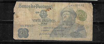 Portugal #173 Good Circ Old 1971 20 Escudos Banknote Paper Money Currency Note