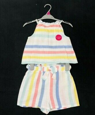 Girls Summer Candy Striped Top & Short Set Ages 5,6,7,8,9,10,11,12 Yrs NEW