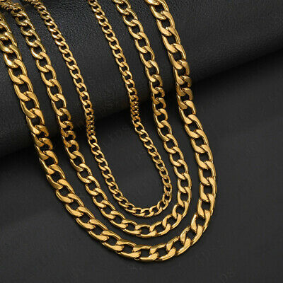 Men's Stainless Steel Gold Tone Chain Cuban Curb Necklace Jewelry Width 5/9mm