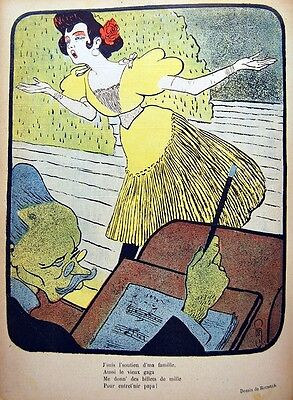 Caricature Dad Girl Quete Singer Of Rue Roubille Chromo Typography 1899