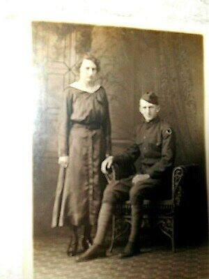 Vintage Unused,Unposted Postcard with WW I Soldier & Wife