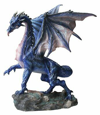 Midnight Dragon Standing on Rocks and Bones Figurine Mythical Fantasy Decoration