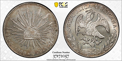 """1868 SILVER 8 REALES """"MEXICO"""" Go50 PCGS GOLD SHIELD MS-65 *SPECTACULAR COIN*"""
