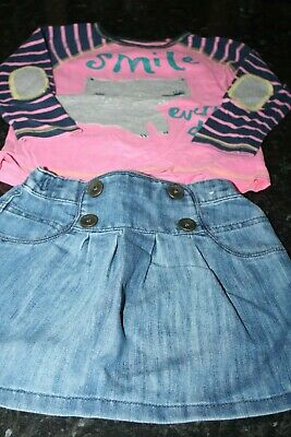 Girls Outfit  Next Skirt Long Sleeve Top Age 2-3 Years