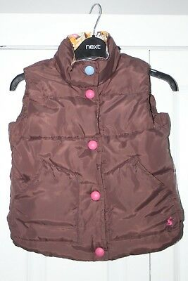 Girls Joules Padded Body Warmer Gilet Brown 4 Years