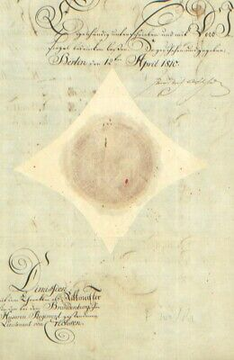 King Frederick William Iii - Military Appointment Signed 04/12/1810