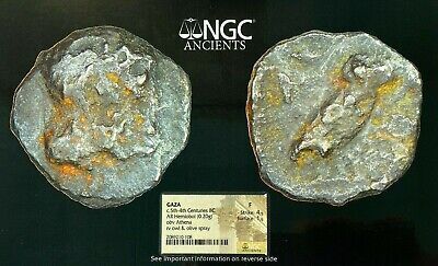 NGC Ancients Graded GAZA F coin, c. 5th-4th Centuries BC AR Hermiobol (0.20 g)