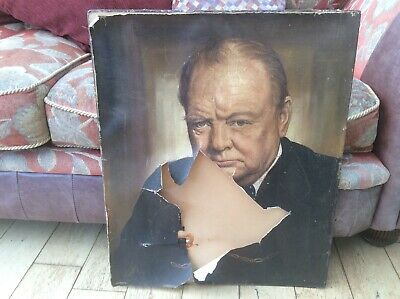 vintage winston Churchill portrait damaged canvas painting