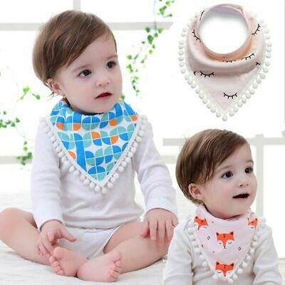 Infants Pattern Boys Girls Baby Triangle Bibs Saliva Towel Cotton Burp Cloths