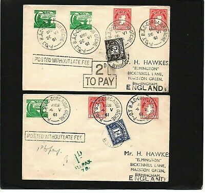 Ireland - Gb - 1961 - Postage Due / To Pay - 2 Covers To England - With Cds
