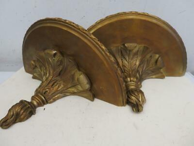really old wall plinth shelf fine carved PAIR