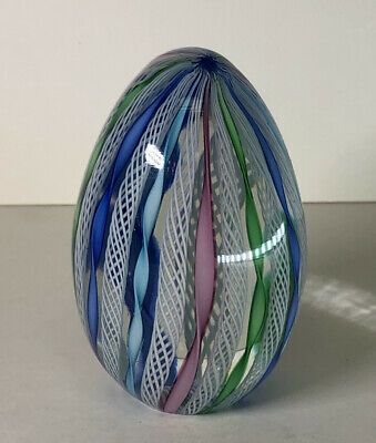 Ribbon Design Egg Shape Glass Paperweight Paper Weight Blue Green Pink