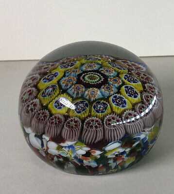 Colorful Italian Murano Glass Paperweight Paper Weight Floral Design Italy