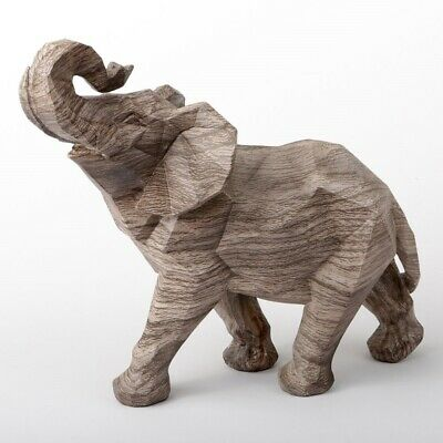 Jumbo Geometric Wood Tone Elephant Figurine 11 Inch New