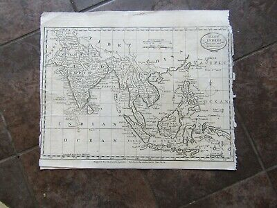 1787 ORIGINAL Large Map of Indonesia, Cambodia, Siam, India,  Sumatra