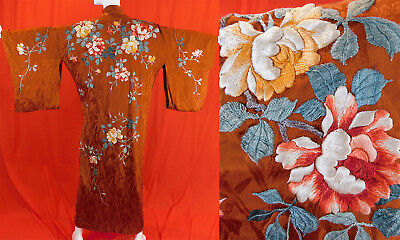 Vintage Antique Japanese Brown Silk Embroidered Peony Flowers Belted Kimono Robe