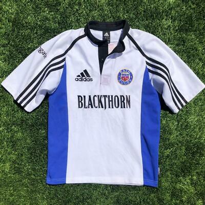 Rare White Adidas Bath Blackthorn Rugby Short Sleeve Jersey Small