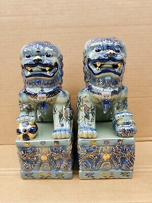 "Pre-owned Glazed Ceramic Foo Dogs Blue&Gold with dragon design and 12"" tall"
