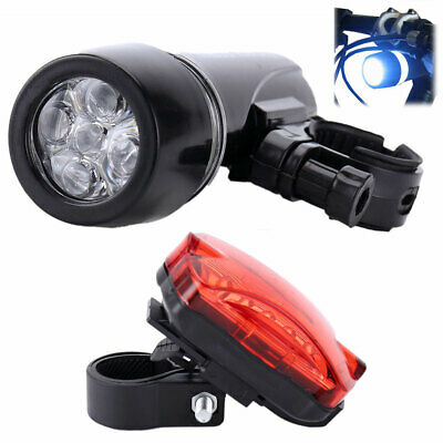 Bicycle Light Head Tail Lights 5 LED Lamp Beam Safety Alarm Set Cycle Bike White