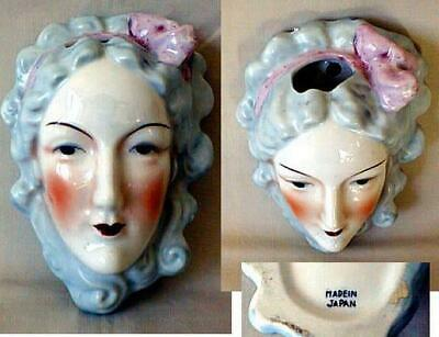 Dramatic Japan Wall Pocket Belle Epoch Lady Head Light Blue, Pink & Blush Must C