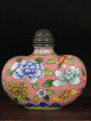 Chinese Flower Hand Painted Copper Enamel Snuff Bottle