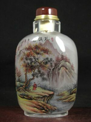 Chinese Scenery Inside Hand Painted K9 Crystal Snuff Bottle:Gift Box