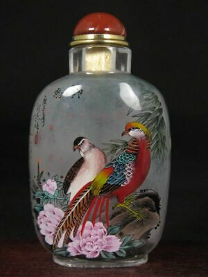 Chinese Golden Pheasant Inside Hand Painted K9 Crystal Snuff Bottle:Gift Box