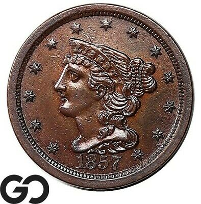 1857 Half Cent, Braided Hair, Sharp BU++ Better Date Collector Coin!