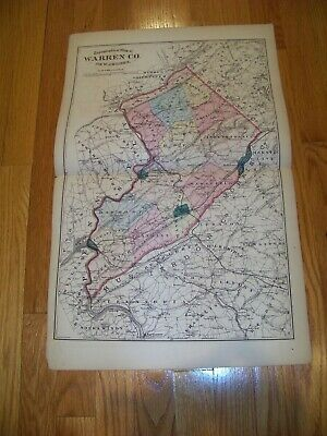 1872 Map F. W. Beers, Comstock & Cline Warren County New Jersey Englewood