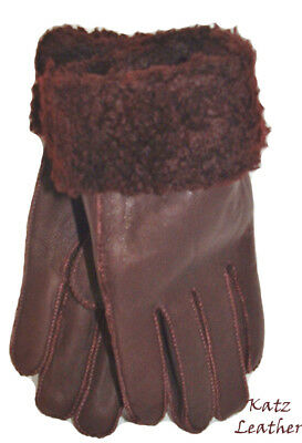 NEW Womens Warm Burgundy Winter Sheepskin Shearling Gloves Real Leather S-M