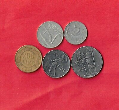 Italy Italian 5 Different 1953-1981 Old Pre-Euro Coin Lot Collection Set Group