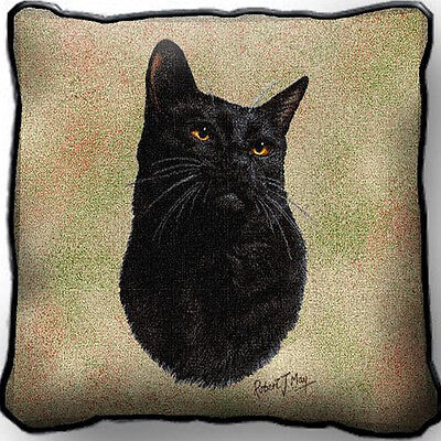 "17"" x 17"" Pillow Cover - Black Cat 1953"