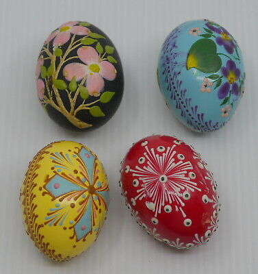 4 REAL CHICKEN EGG PYSANKY, HAND PAINTED w FLOWERS, CROSS, EASTER COLLECTIBLE