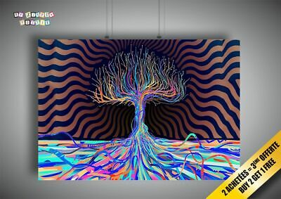 Psychedelic Arbre Tree Wall Art Poster