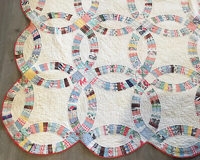 Vintage Patchwork Quilt, 1930's, Wedding Ring, Floral Calico Prints, Multi