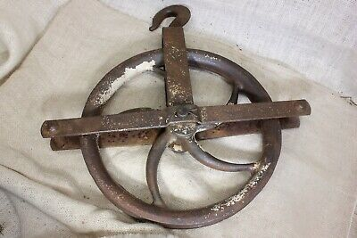 """old Well Pulley 12"""" LARGE wheel heavy duty iron barn industrial 13 pounds rustic"""