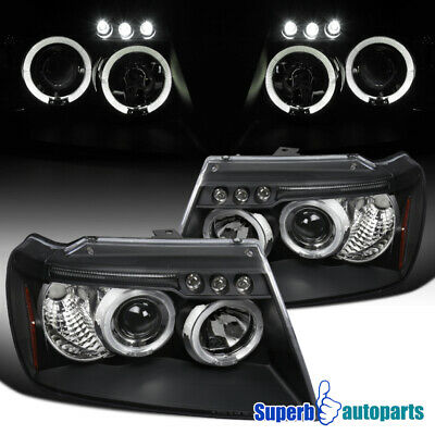For 1999-2004 Jeep Grand Cherokee LED Halo Projector Headlights Black