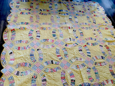 Vintage Patchwork Quilt, 1930's, Wedding Ring, Floral Calico Prints, Yellow