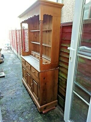 Family Sized Reproduction Antique Real Pine Wooden Dresser (2 Sections) Vgc