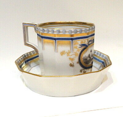 Nymphenburg Porcelain Hand Painted King's Service Cup & Saucer