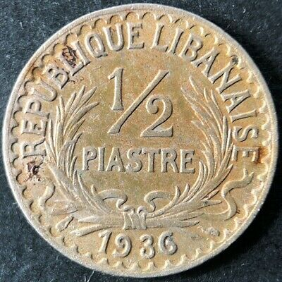 1936 Lebanon 1/2 (Half) Piastre coin in Nice Condition