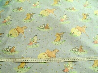 """Laura Ashley ' Hey Diddle Diddle 'Cotton FQ 22x18"""" Lilac With Nursery Characters"""