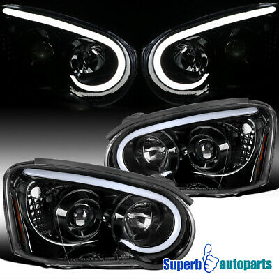 For 2004-2005 Subaru Impreza WRX Polished Black LED DRL Projector Headlights