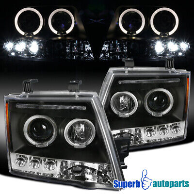 For 2005-2012 Xterra LED Halo Halo Projector Headlight Black Replacement Pair