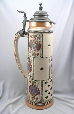 """Vintage GERMANY BEER STEIN Playing Card Design Large 2 Liter 16"""" Tall #1633"""